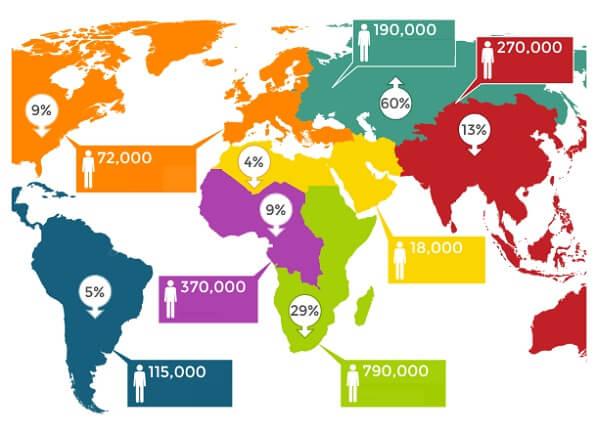 Заражение ВИЧ в мире